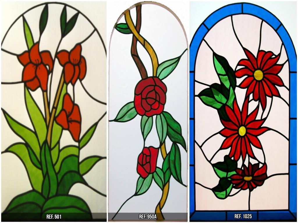 STAINED GLASS WITH FLOWERS